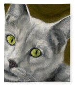 Gray Cat With Green Eyes Fleece Blanket