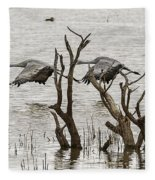 Gray Day At Whitewater Fleece Blanket