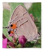 Gray Hairstreak Butterfly Fleece Blanket