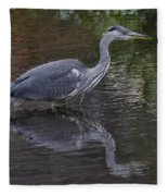 Gray Heron And Reflection Fleece Blanket
