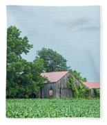 Gray Sky - Red Roofed Barn - Green Fields Fleece Blanket