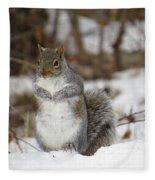 Gray Squirrel In Snow Fleece Blanket