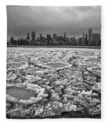 Gray Winter Chicago Skyline Fleece Blanket