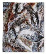 Gray Wolf Watches And Waits Fleece Blanket