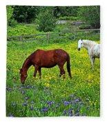 Grazing Amongst The Wildflowers Fleece Blanket