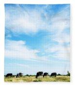 Grazing Cattle Fleece Blanket