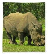 Grazing Rhino Fleece Blanket