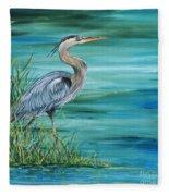 Great Blue Heron-2a Fleece Blanket