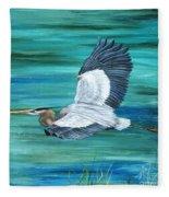 Great Blue Heron-3a Fleece Blanket