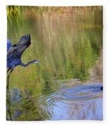 Great Blue Heron And Coot Fleece Blanket