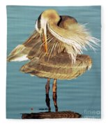 Great Blue Heron Ardea Herodias Preening Fleece Blanket