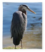 Great Blue Heron By Pond Fleece Blanket
