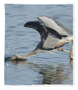 Great Blue Heron Fishing Fleece Blanket