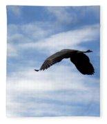 Great Blue Heron Flying Past The Clouds Above Trojan Pond 2 Fleece Blanket