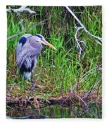 Great Blue Heron In Nature Fleece Blanket