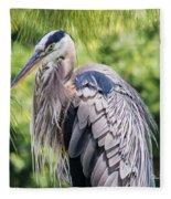 Great Blue Heron Iv Fleece Blanket