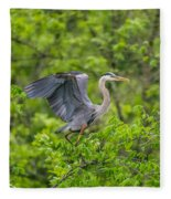 Great Blue Heron Landing Fleece Blanket