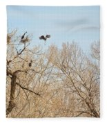 Great Blue Heron Nest Building 1 Fleece Blanket