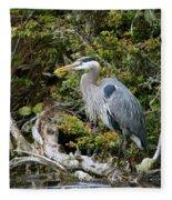 Great Blue Heron On Log Fleece Blanket