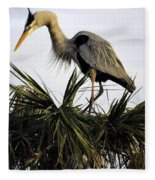 Great Blue Heron On Palm Fleece Blanket