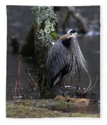 Great Blue Heron On The Clinch River Fleece Blanket