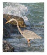 Great Blue Heron On The Prey Fleece Blanket