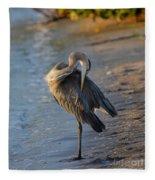 Great Blue Heron Preening On The Beach Fleece Blanket