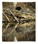 Great Blue Heron Reflection Fleece Blanket