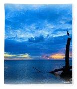Great Blue Heron Sunrise Fleece Blanket