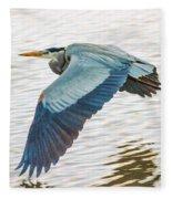 Great Blue Heron Taking Flight Fleece Blanket