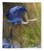 Great Blue Heron Taking Off Fleece Blanket