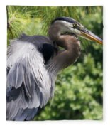 Great Blue Heron Vi Fleece Blanket