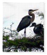 Great Blue Heron With Fledglings II Fleece Blanket
