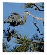 Great Blue Heron With Nest Material Fleece Blanket