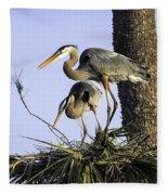 Great Blue Herons Nesting Fleece Blanket