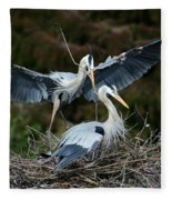 Great Blue Herons Nesting Fleece Blanket