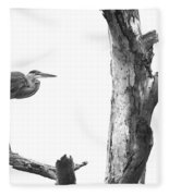 Great Blue In Black And White Fleece Blanket