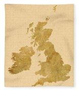 Great Britain Map Fleece Blanket