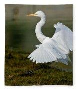 Great Egret Alighting Fleece Blanket