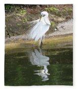 Great Egret In The Lake Fleece Blanket