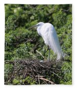 Great Egret Nest Fleece Blanket
