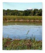 Great Egret On Berm Pond At Tifft Nature Preserve Buffalo New York Fleece Blanket