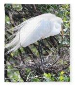 Great Egret On Nest Fleece Blanket