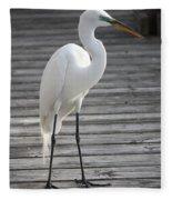 Great Egret On The Pier Fleece Blanket