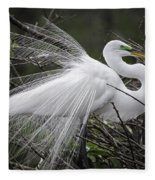 Great Egret Preening Fleece Blanket