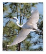 Great Egret Spirit Fleece Blanket