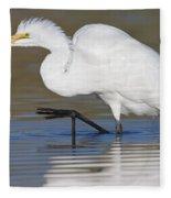 Great Egret With Leg Up Fleece Blanket