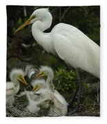 Great Egret With Young Fleece Blanket