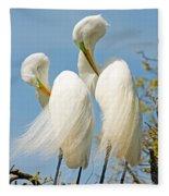 Great Egrets At Nest Fleece Blanket