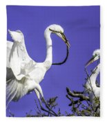 Great Egrets Nesting Fleece Blanket